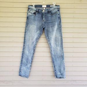 FRAME Denim Le Garcon Acid Wash Skinny Jeans